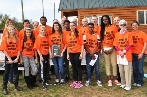 2015 Bully Free Communities Spotlight Award winner Woodrow Wilson Middle School with members of the Community Foundation of Middlesex County Council of Business Partners and Campaign for Bully-Free Communities partners